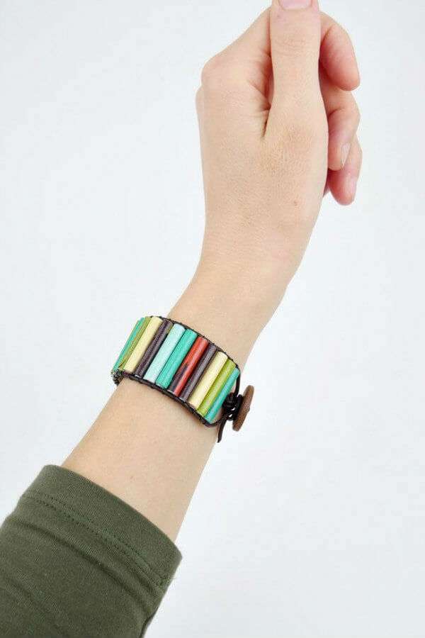 colorful paper bead cuff bracelet