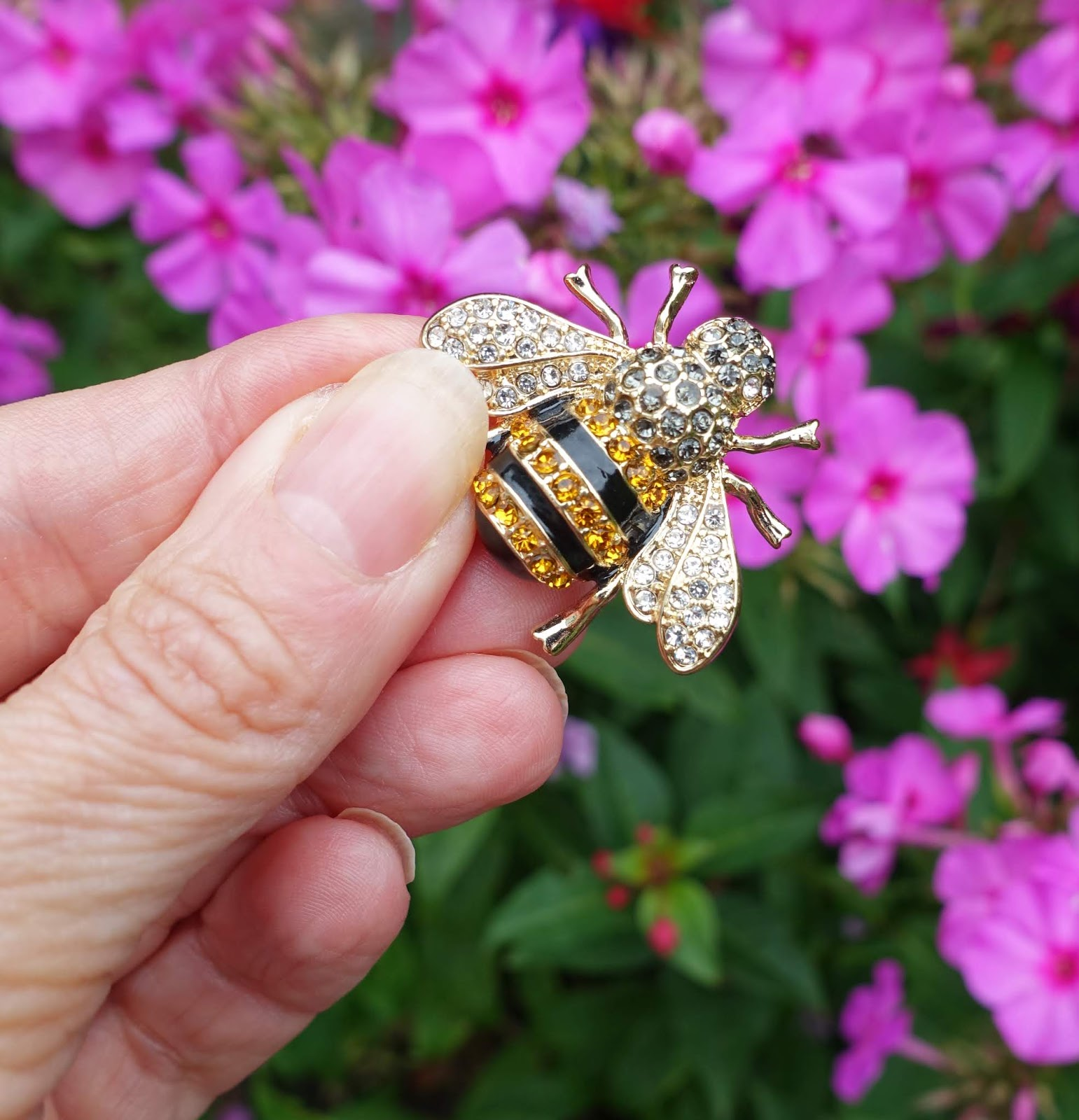 Close up of a bee bug brooch from Marks and Spencer, AW19