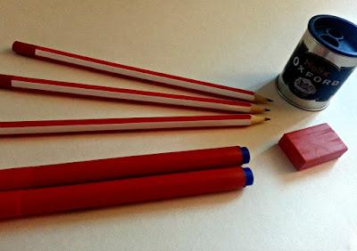 Pencils, pens, sharpener, eraser