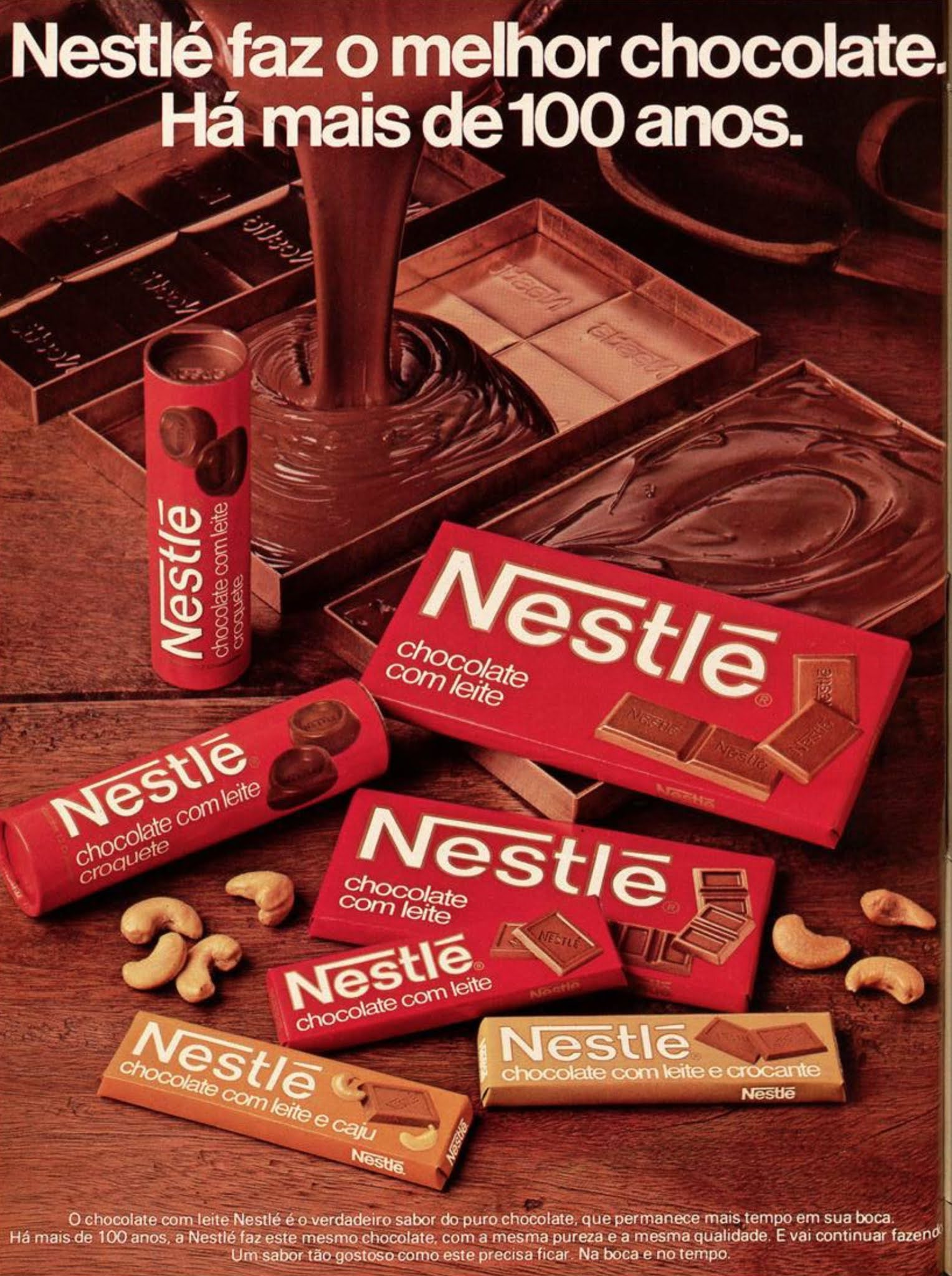 Anúncio veiculado em 1984 promovia a linha de chocolates Nestlé