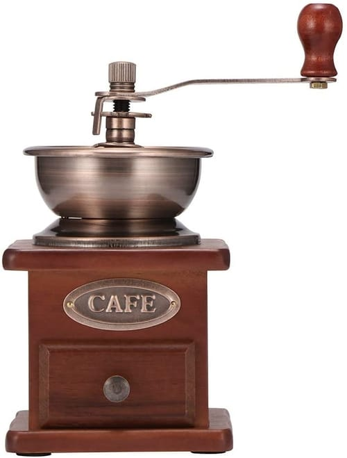 COZHYESS Manual Antique Wooden Hand Coffee Grinder