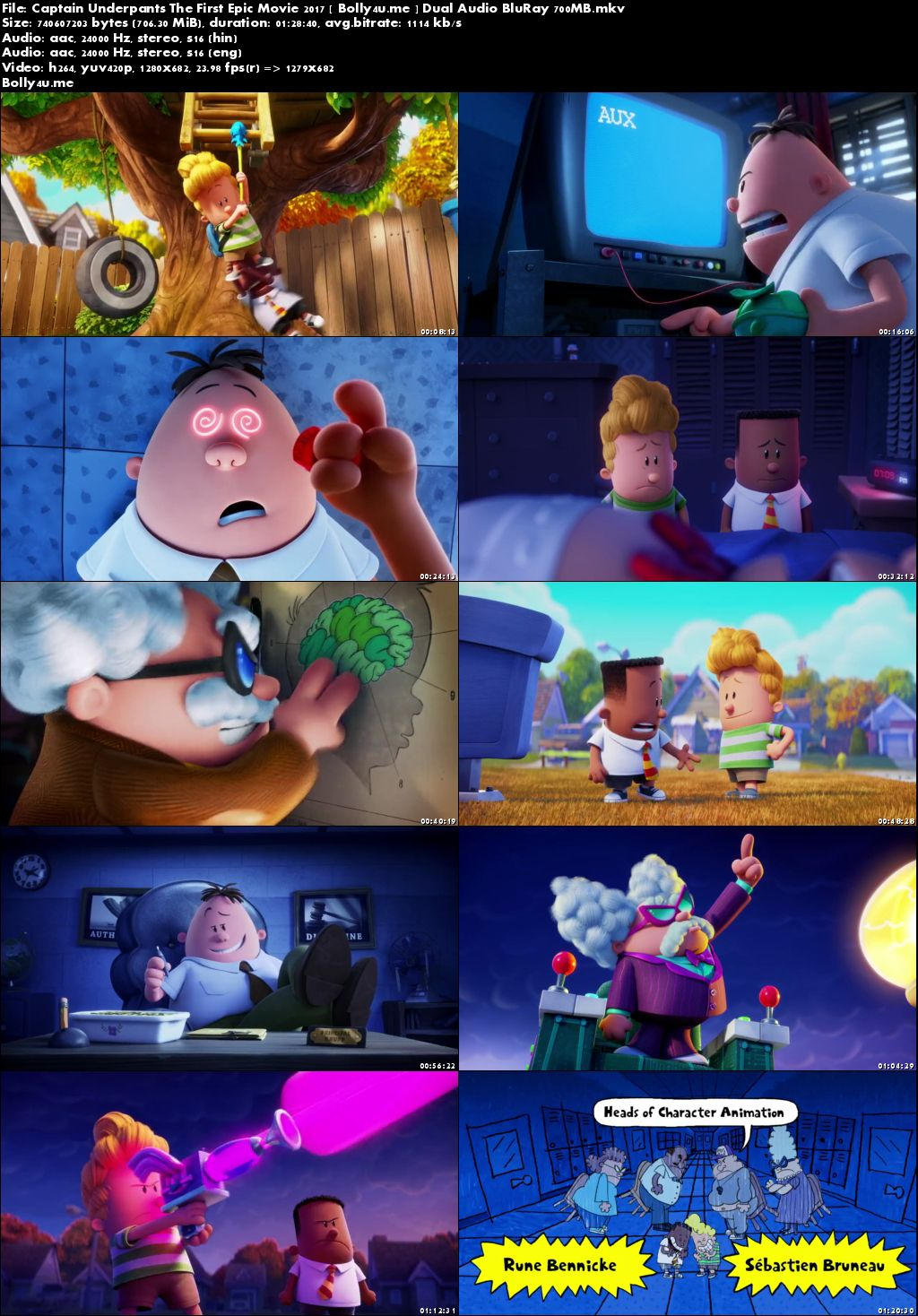 Captain Underpants The First Epic Movie 2017 BRRip 300MB Hindi Dual Audio 480p Download