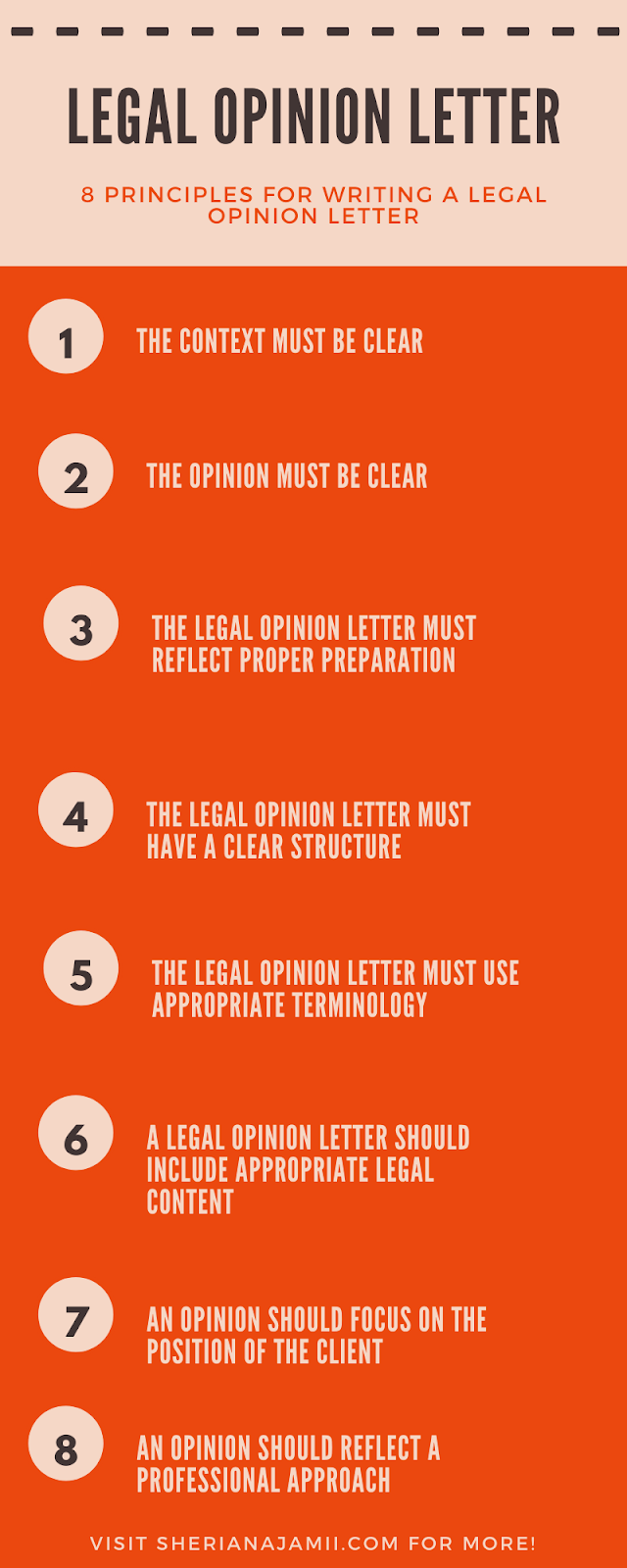 8 Principles for drafting /writing a legal opinion letter