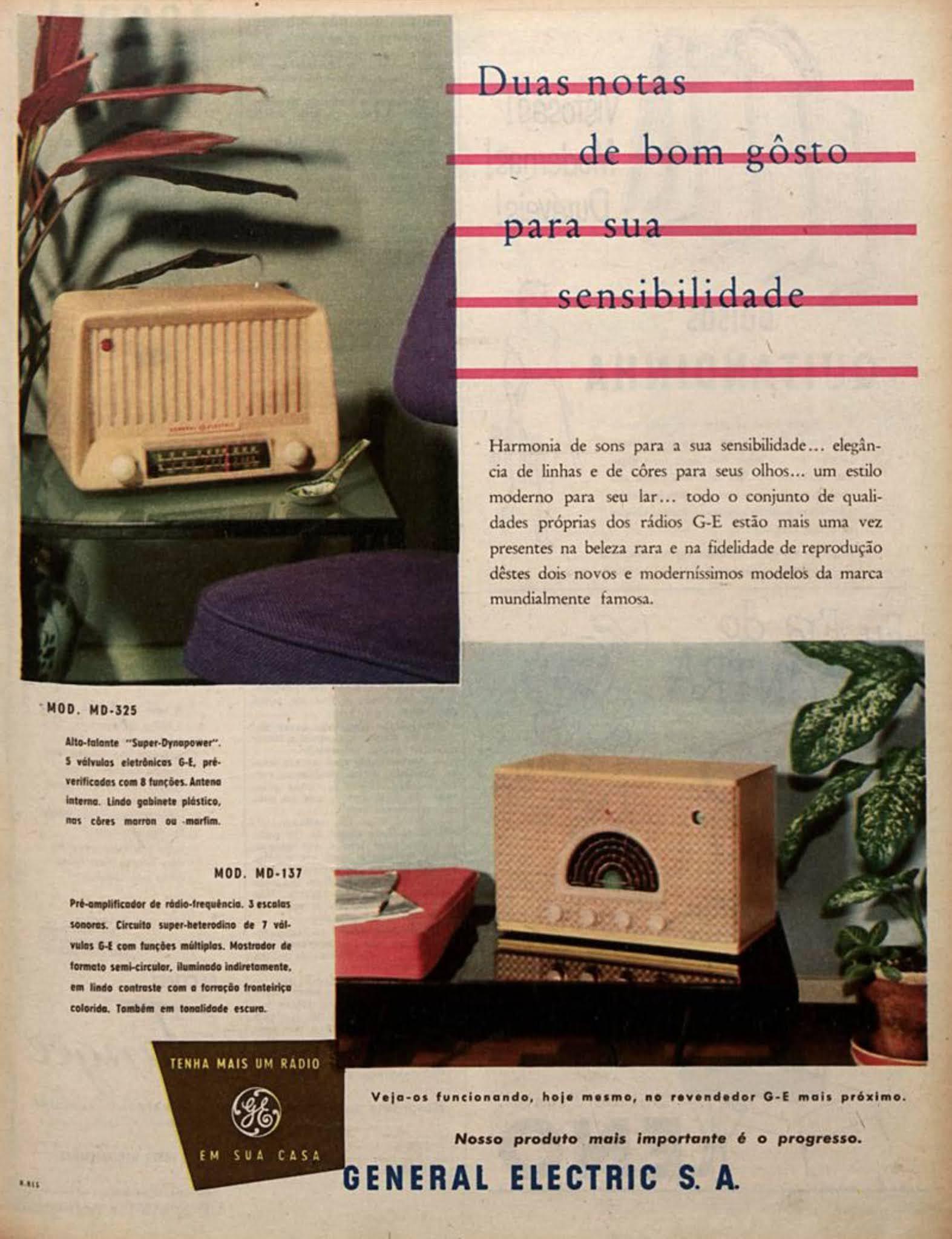 Propaganda antiga do Rádio General Electric veiculada em 1954