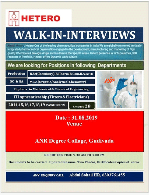HETERO - Walk-In Interview for Production, QA, QC on 31st Aug' 2019