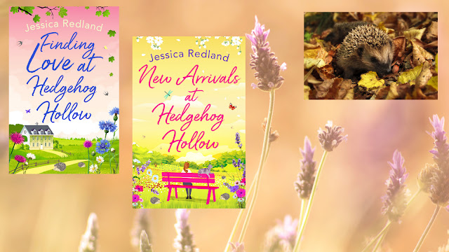 The Writer's Pet and the Hedgehog Hollow series by Jessica Redland. Both books pictured, along with a hedgehog