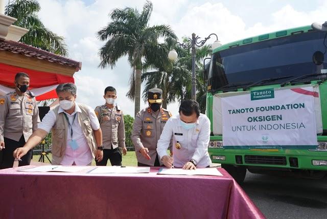 Pemprov Jambi Terima Bantuan Oksigen Cair 24,8 Ton dari Tanoto Foundation