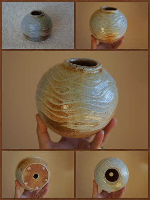 Textured soda fired pottery garden totem piece by Lily L.