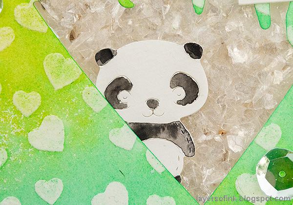 Layers of ink - Panda Shaker Card Tutorial by Anna-Karin Evaldsson. Tiny panda.