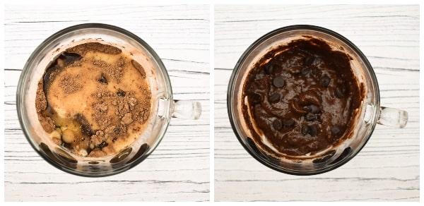 Making a chocolate brownie mug cake - step 5 - milk added and mixed