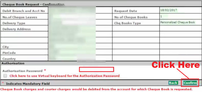 corporation bank online cheque book request