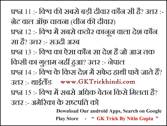 Enviornment GK Trick in Hindi