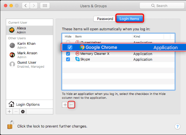 Disable unnecessary items in MAC