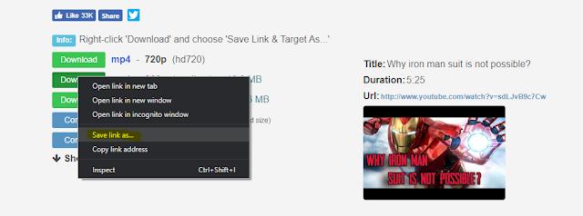 video downlaod options