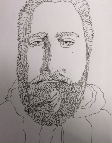 Bryce with A Song Sparrow in his beard by shoshanah marohn 2016