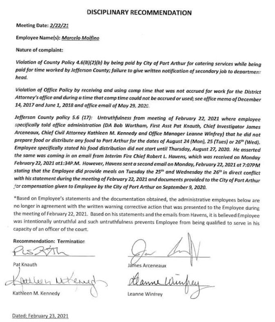 Marcelo Molfino Termination  Letter Unfit to Be Officer 1