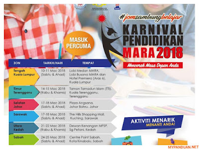 Tarikh dan Lokasi Karnival Pendidikan MARA 2018
