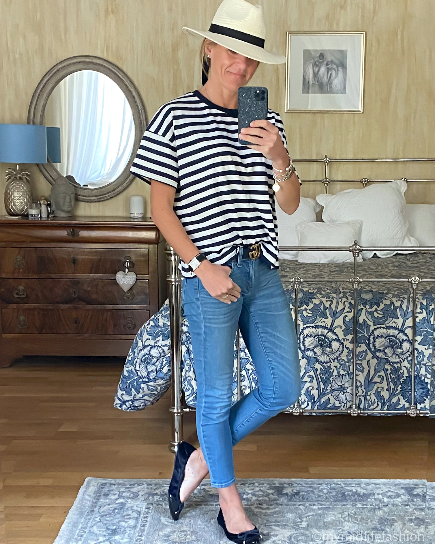 mymidlifefashion, zara panama hat, h and m straight style t shirt, j crew 8 inch toothpick jeans, Burberry ballet flats