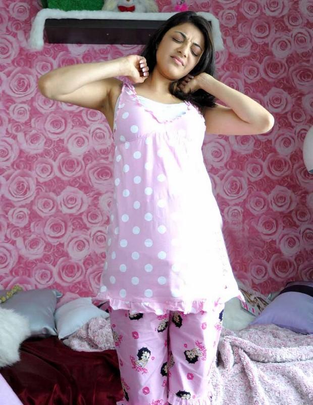 South Indian Actress Kajal Agarwal Armpits Show Photos In Pink Dress
