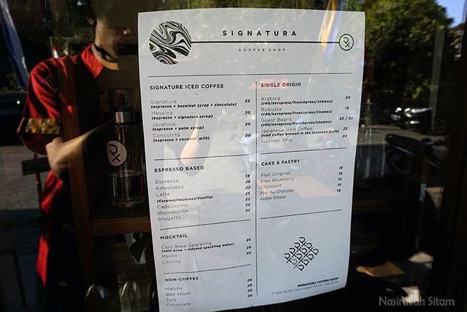 Daftar harga dan menu di Signatura Coffee