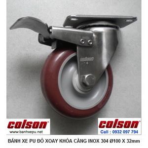 Bánh xe đẩy PU đỏ càng inox có khóa chịu lực Colson | 2-4456-944-BRK4 www.banhxepu.net