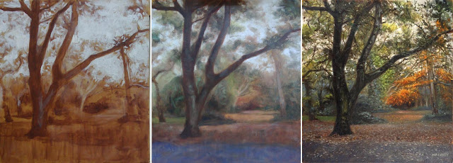 oil painting of a tree WIP shown in stages
