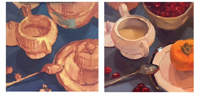 still life oil painting work-in-progress by sarah sedwick