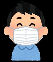 マスクを付けた人の表情のイラスト(男性・笑顔)