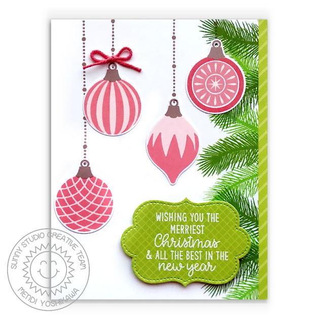 Sunny Studio Coral Pink Vintage Glass Ornaments Handmade Holiday Christmas Card (using Retro Ornaments, Classy Christmas & Inside Greetings Holiday Stamps, Sliding Window Dies & Sleek Stripes Paper)
