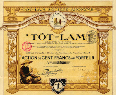 share in the Tôt-Lam tea company from Indochina, dated 1912
