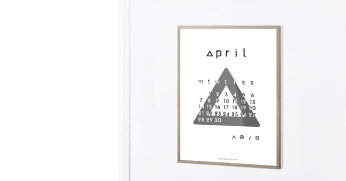 Only Deco Love: April 2014 Typographic Printable Calendar