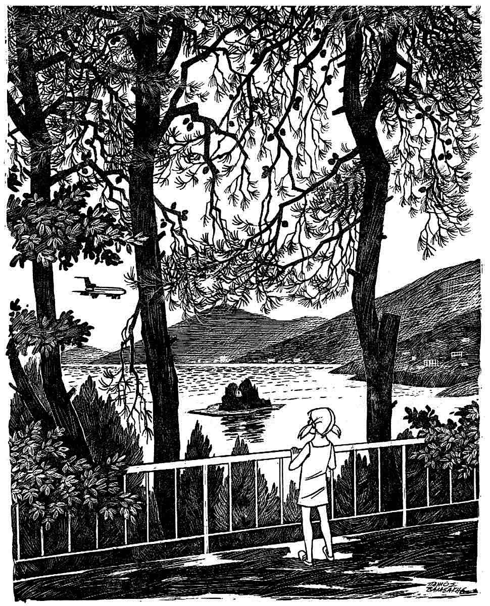 a Pavlos Valassakis children's book illustration from Greece, a girl looking at a nice view