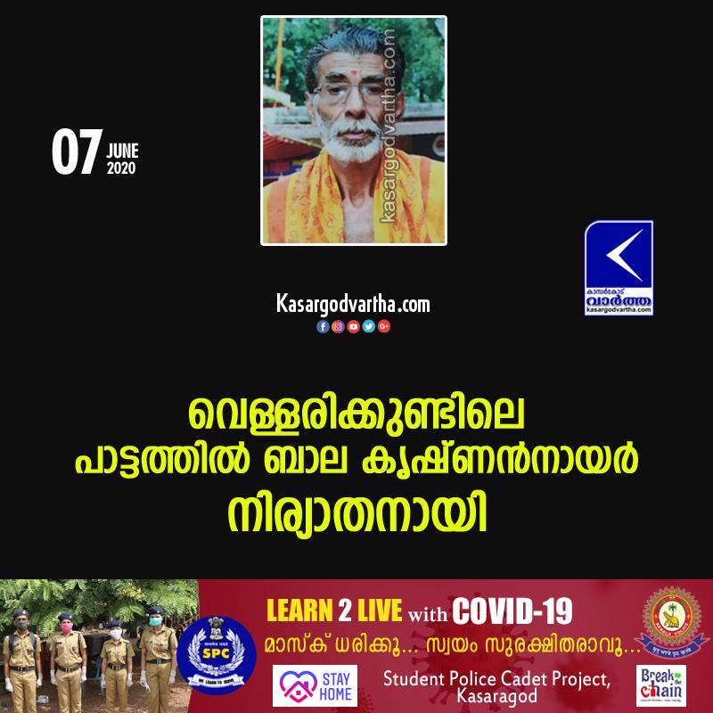 Kerala, News, Obituary, vellarikkund paatathil bala krishnan nair passed away