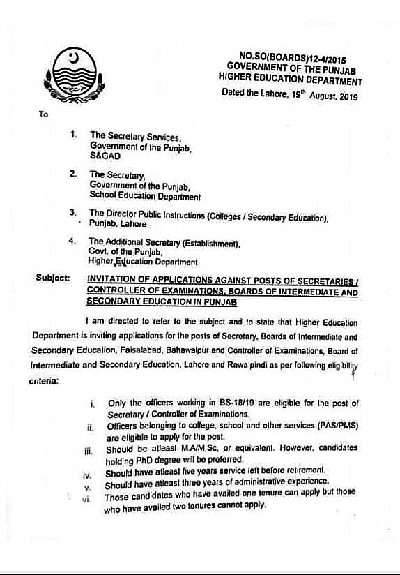 INVITATION OF APPLICATIONS FOR THE POSTS OF SECRETARY AND CONTROLLER OF EXAMINATIONS, BOARDS OF INTERMEDIATE AND SECONDARY EDUCATION