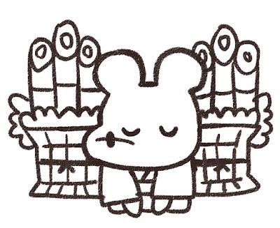 門松の前で挨拶をするネズミのイラスト(子年)白黒線画