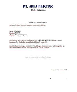 Donwnload Contoh Surat Keterangan Kerja SKK | Area Printing