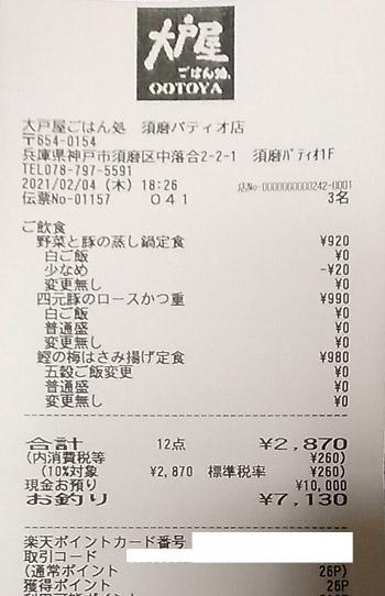 大戸屋ごはん処 須磨パティオ店 2021/2/4 飲食のレシート