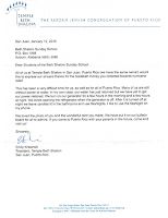 Letter from Temple Beth Shalom in Puerto Rico. Text also included on the page.