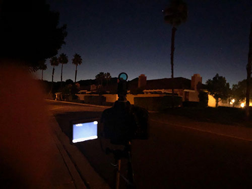 DSLR setup on flimsy tripod and just waiting to find the comet (Source: Palmia Observatory)