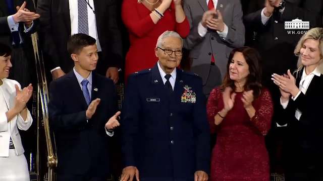 State of the Union 2020 space air force Ian Lanfeier Brigadier General Charles McGee Tuskegee airman 100 years old