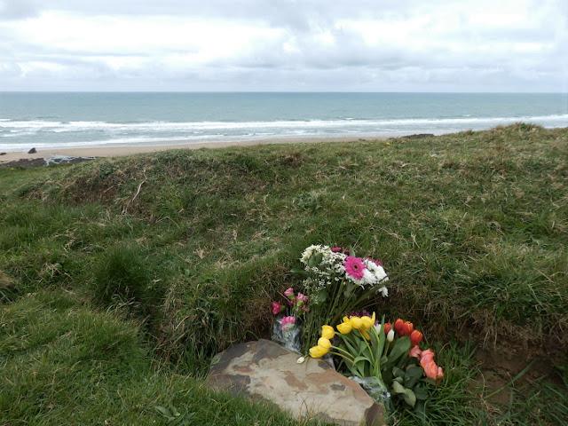 Memorial flowers on cliffs