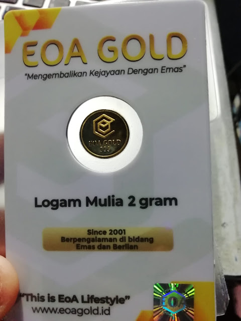 Tampak Kemasan Bagian Depan EOA Gold Ukuran 2 Gram