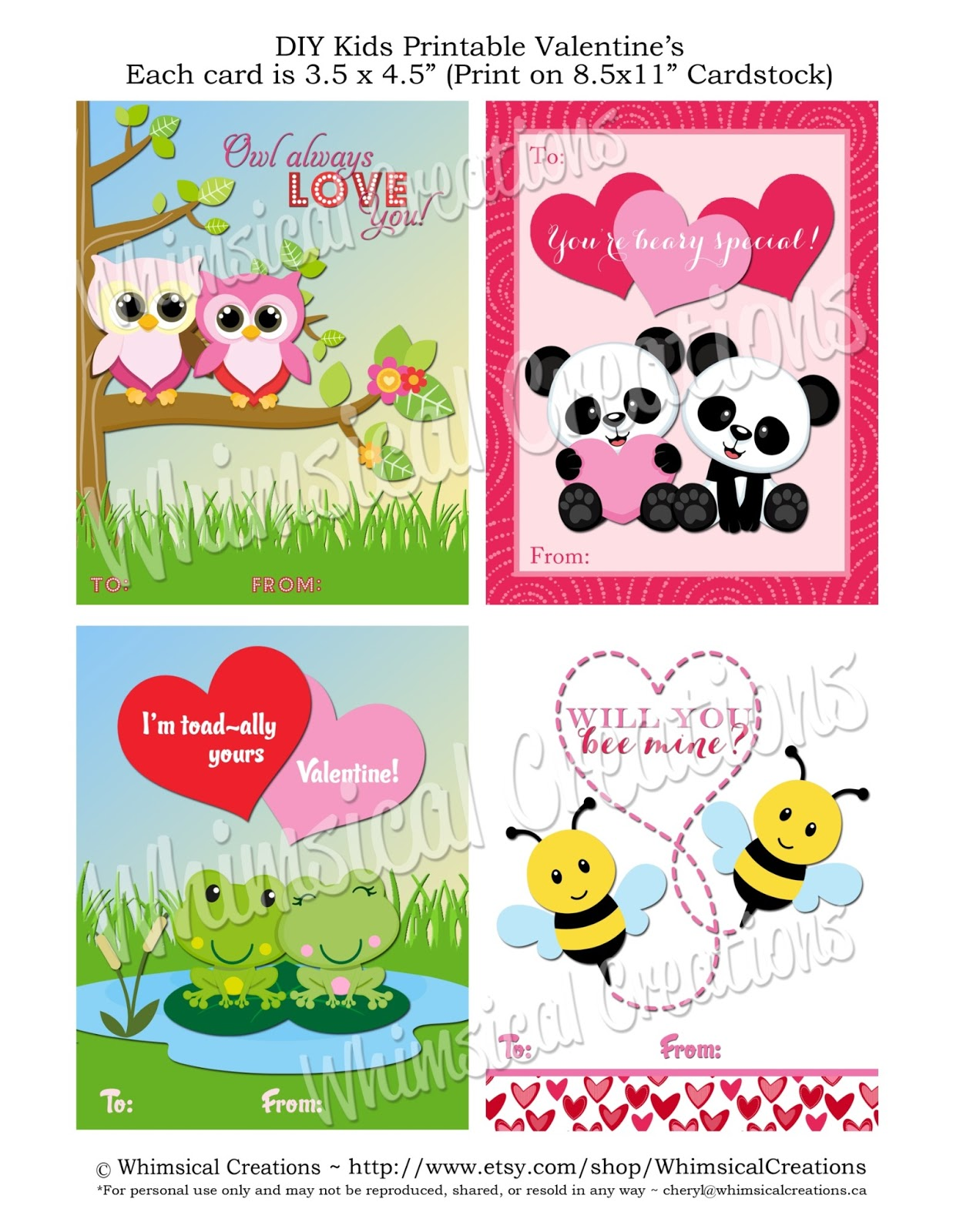 Whimsicalcreations Cute Printable Valentine Cards For Kids