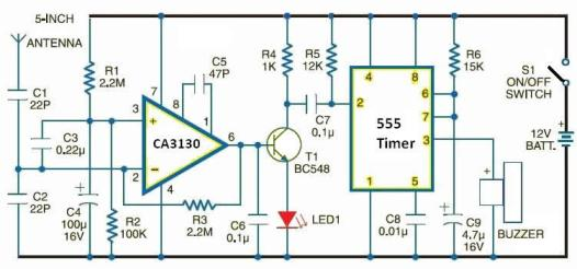 Cell phone detector circuit diagram - The Circuit