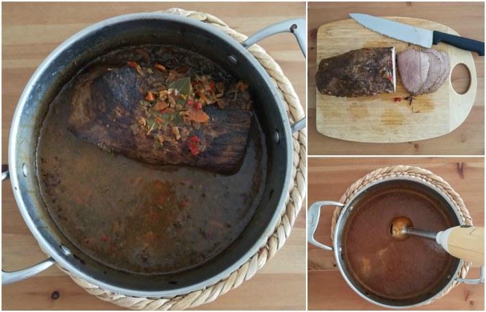 Carne cocida en una cacerola, luego presentada en una tabla para picarla y bañar con la salsa