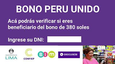 Verifica si te toca el BONO PERU UNIDO de 380 soles LINK AQUI