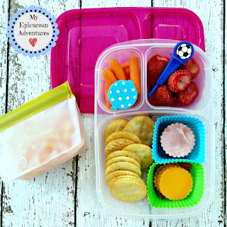 Lunch box fun with cheese and cracker lunchables. Always fun to eat and better than the store-bought kind. In our @easylunchboxes #lunchboxideas