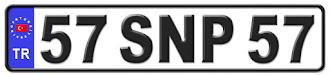 Sinop il isminin kısaltma harflerinden oluşan 57 SNP 57 kodlu Sinop plaka örneği