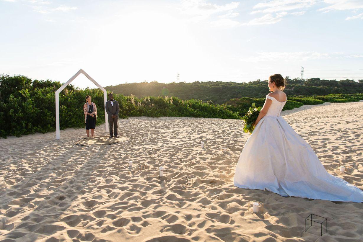 beach wedding cronulla sand dunes cake florals bridal gown australian designer