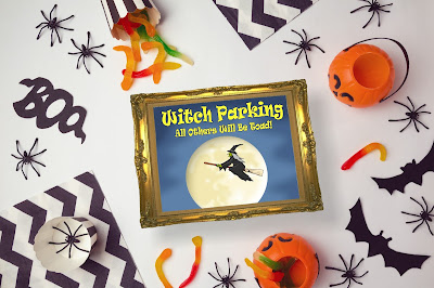 "Are you feeling a little ""witchy"" today? Embrace your inner Halloween witch with this free printable for your Halloween Decorations.  Sign reads ""Witch Parking. All Others Will Be Toad!"""